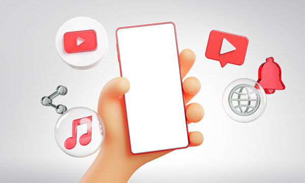 Cute Hand Holding Phone Youtube Icons Around 3D Rendering Mockup Template