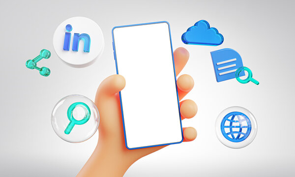 Cute Hand Holding Phone LinkedIn Icons Around 3D Rendering Mockup Template