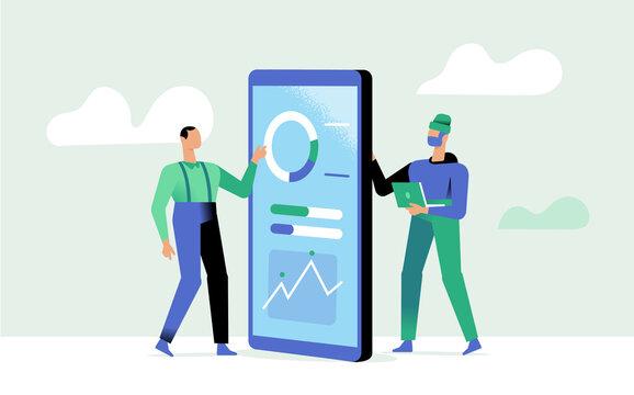 Programmatore e utente delle applicazioni mobile di analisi e statistiche