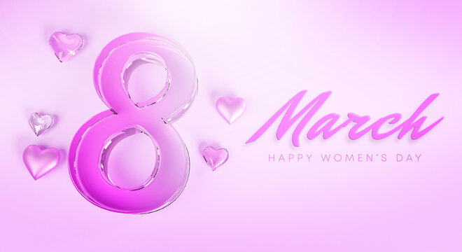 8 March Happy Women's Day Love Heart Glass Purple Banner