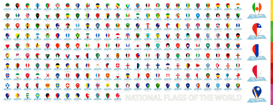 Maps of the world with pin flags of 228 countries.