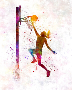 Basketball player in watercolor
