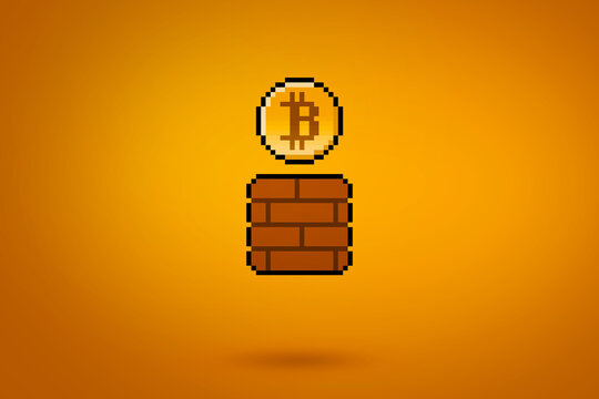 Pixel bitcoin coming from a gaming block