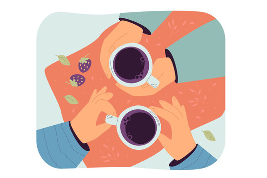 Top view of human hands holding cups isolated flat vector illustration. Cartoon unrecognizable character drinking morning tea or coffee in cafe. Friends meeting and refreshment concept