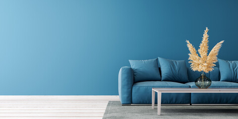 Fototapeta Modern living room design with empty blue mock up wall and blue sofa 3D Rendering, 3D Illustration obraz