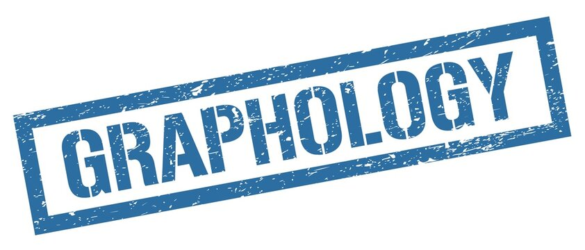 GRAPHOLOGY blue grungy rectangle stamp.