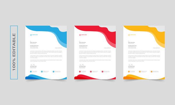 Modern corporate letterhead design template, abtract letterhead Design, simple letterhead, corporate letterhead, letterhead, business card letterhead design, red stationary set