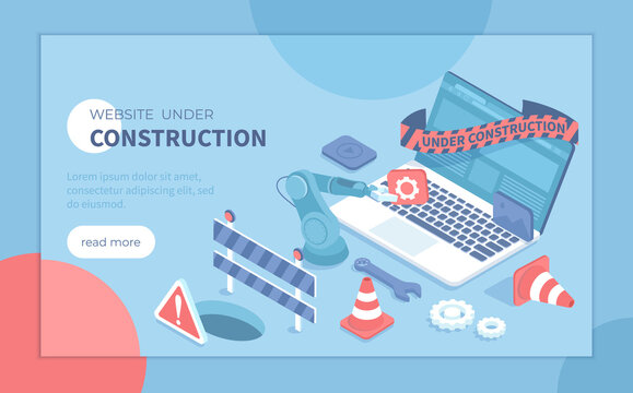 Website Under Construction. Updates changes and  fixing on the site. Maintenance page or 404 error. Isometric vector illustration for banner, website.
