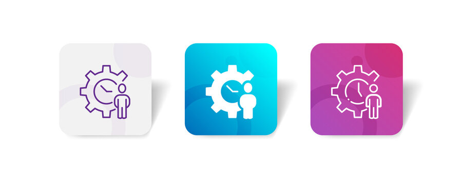 time duration maintenance with cogwheel icon set bundle in line, solid, glyph, 3d gradient style