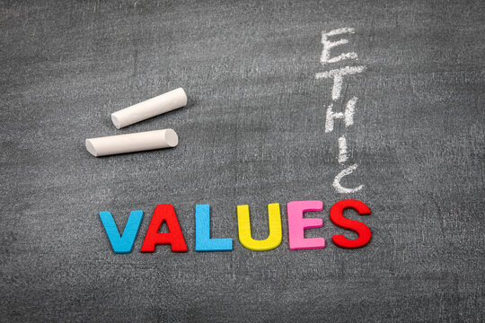 Values and Ethic concept. Colored letters of the alphabet