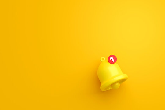 Notification message bell icon alert and alarm on yellow background with smartphone reminder. 3D rendering.