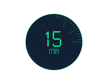 15 min Timer icon, 15 minutes digital timer. Clock and watch, timer, countdown