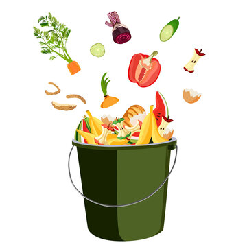 Trash bin for composting with leftover from kitchen. Kitchen food waste. Zero waste. Vector illustration.