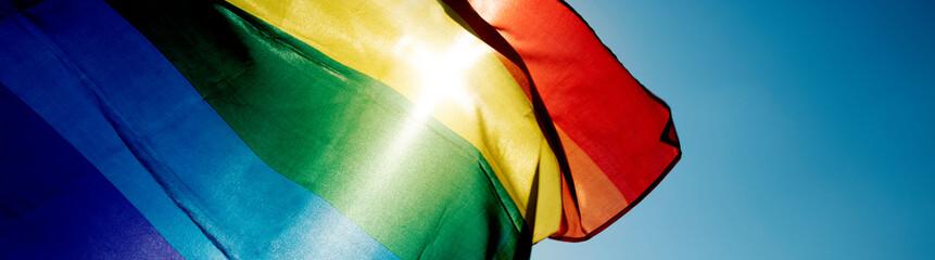 Obraz rainbow flag waving on the sky, web banner - fototapety do salonu