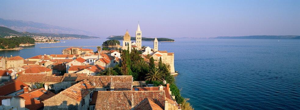 Elevatred view of medieval Rab Bell Towers and town, Rab Town, Rab Island, Dalmatia, Dalmatian Coast, Croatia, Europe