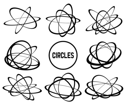 CIRCLES、輪で構成された立体的な物体の素材集、輪はそれぞれ独立しています