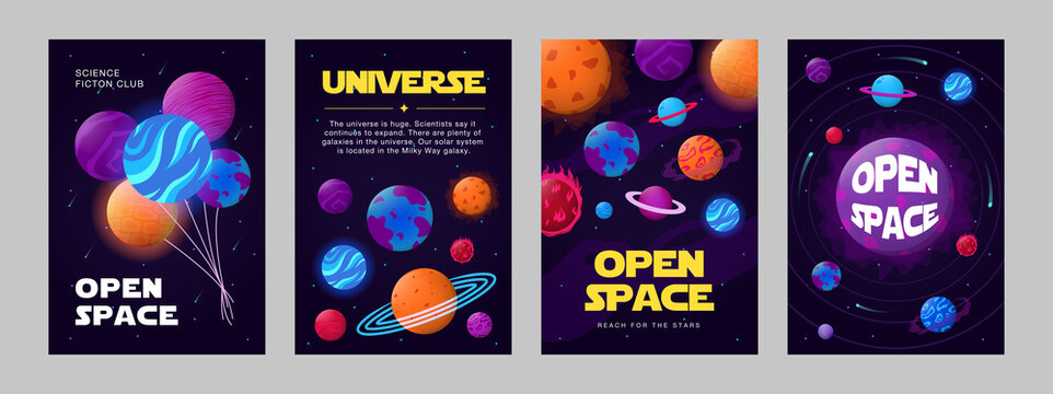 Open space posters collection. Planets, orbits, stars, balloons vector illustrations with text. Science fiction club, education, cosmos concept for flyers and greeting cards design