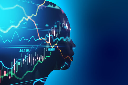 Artificial intellingence trading concept with robot silhouette at blue background and forex chart data with financial graphs inside. Double exposure