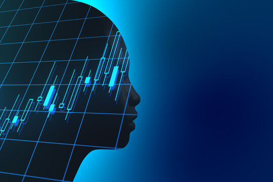 Business data analysis concept with robot silhouette at blue background and financial chart inside. Double exposure