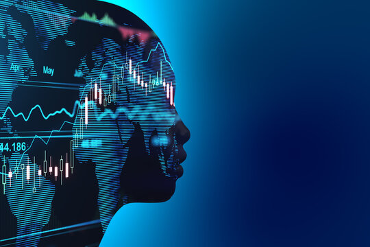 Stock market machine learning concept with head silhouette and financhial chart inside. Double exposure