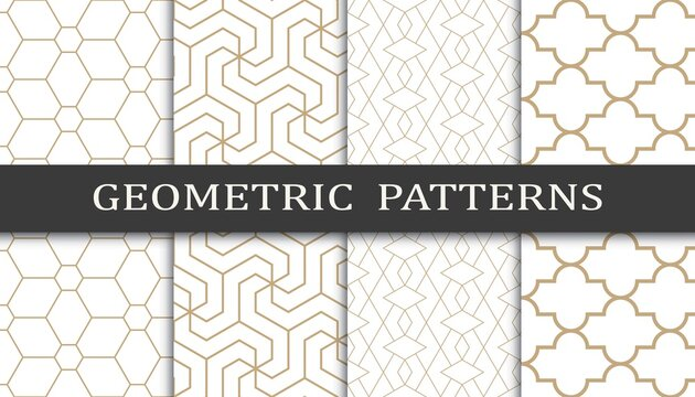 Set of geometric seamless patterns. Abstract geometric graphic design print pattern. Seamless geometric golden lines pattern.