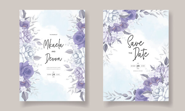 Elegant wedding invitation card with beautiful purple flowers