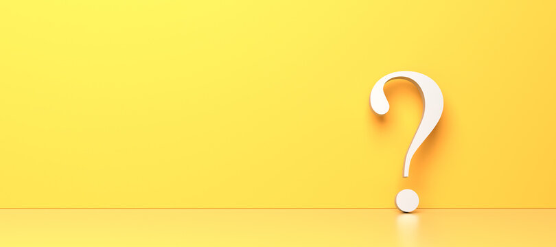 White question mark on yellow background with empty copy space on left side, FAQ Concept. 3D Rendering