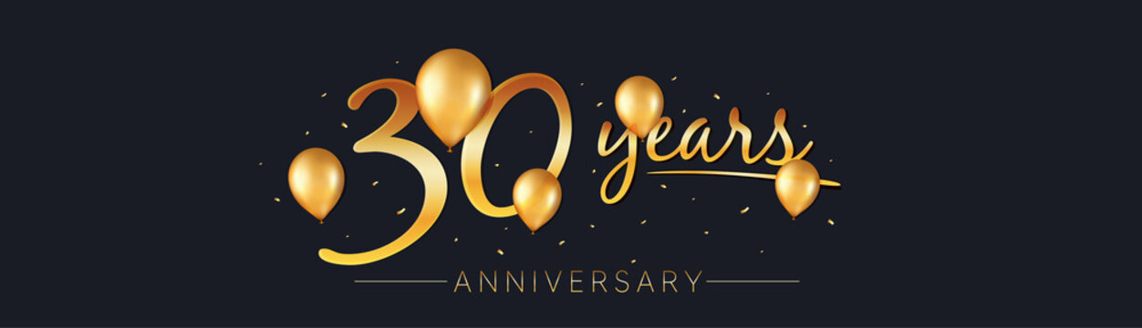 30 years anniversary vector banner. 30th birthday jubilee with golden balloons and confetti. 30 years celebrating invitation. Realistic gold air balloons and confetti pieces. Birthday vector banner.