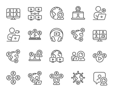 Online meeting line icons. Virtual presentation, Video conference, Live chat icons. Team video, Digital training, Online presentation. Live webinar, Remote team conference, Virtual study. Vector