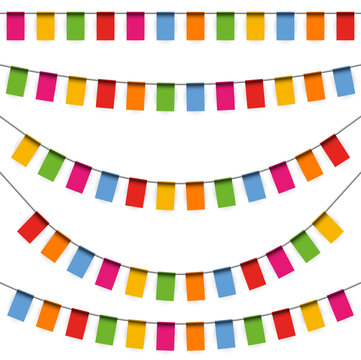 colored garlands party background