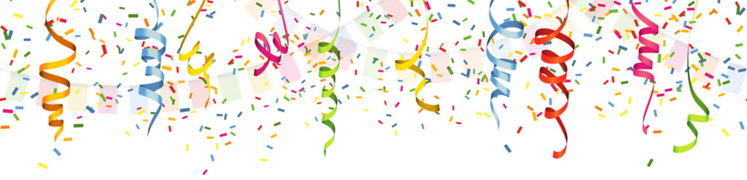 seamless colored garlands and streamers party background