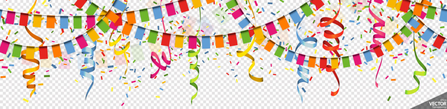 colored garlands, streamers and confetti party background