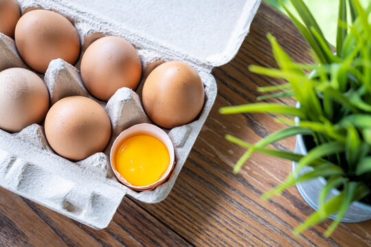 egg yolk in carton pack or egg container