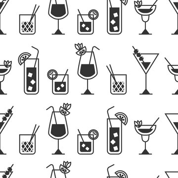 Cocktail vector seamless pattern on a white background.