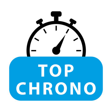 Top chrono. Blue and black chronometer. Vector icon illustration.