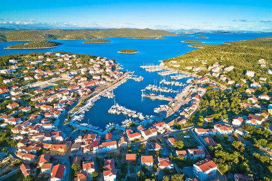 Jezera on Murter island aerial panoramic view, archipelago of Dalmatia