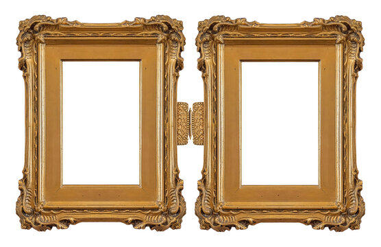 Double golden frame (diptych) for paintings, mirrors or photos isolated on white background. Design element with clipping path