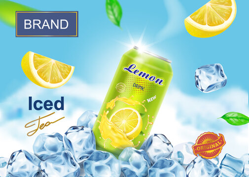 Lemon drink advertising poster design banner with aluminium can on ice cubes, lemon slices, citrus juice splashing. realistic iced tea ads vector