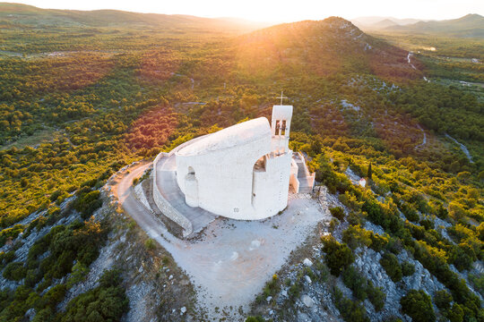 Okit hill church near town of Vodice aerial view