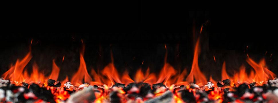 Feuer, Glut, Flammen, Grillen,  Panorama XXL