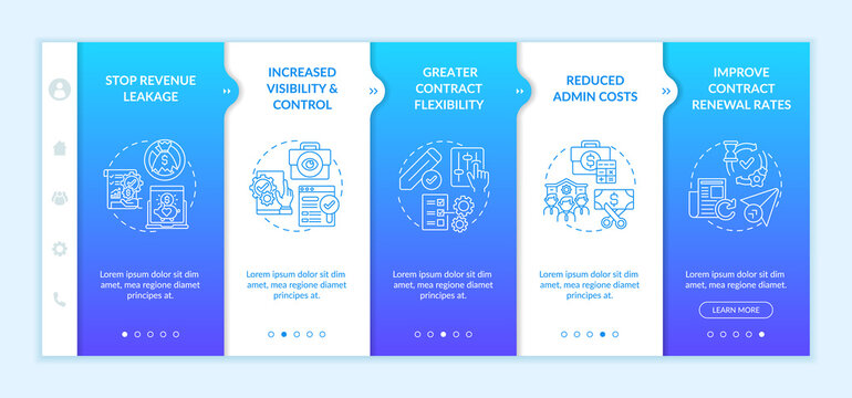 Contract management automation benefits onboarding vector template. Increased visibility and control. Responsive mobile website with icons. Webpage walkthrough step screens. RGB color concept