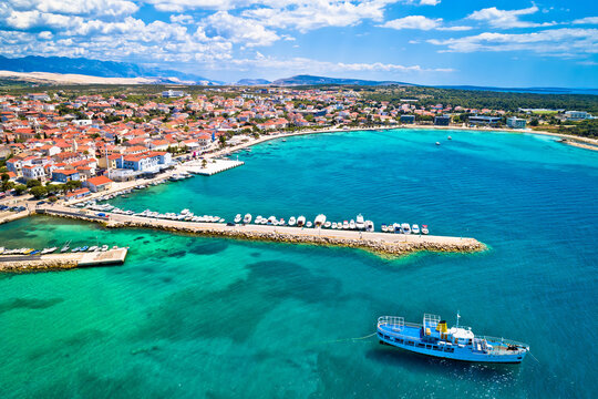 Town of Novalja on Pag island waterfront aerial view