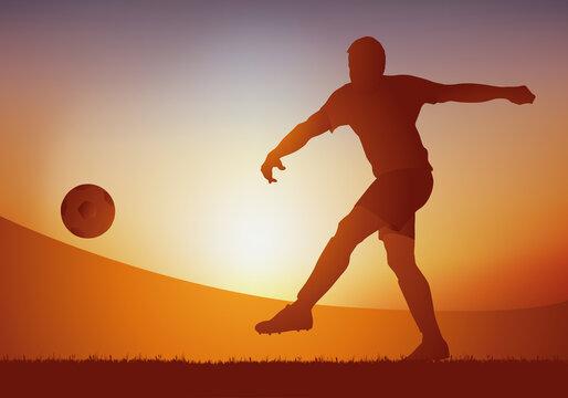 Concept de l'action de jeu au football avec un joueur attaquant qui frappe le ballon, pour marquer un but lors d'un match de championnat.