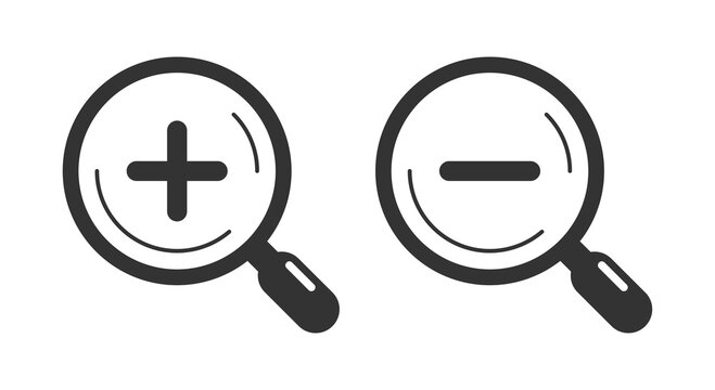 Magnifier glass icons. Zoom in and zoom out.