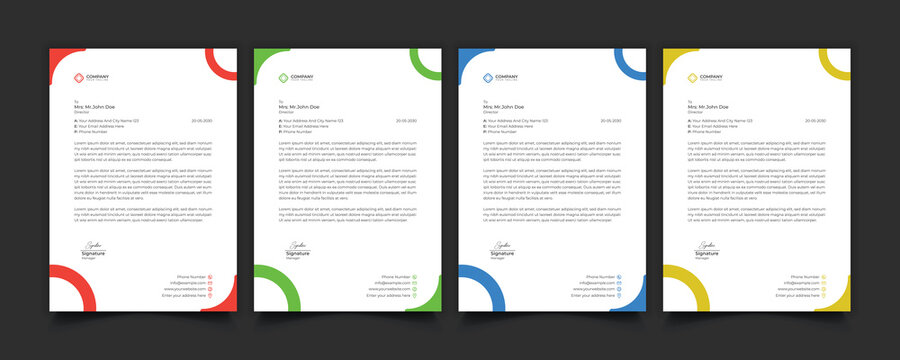 Creative professional corporate modern business style letterhead templates Simple design in minimalist style vector design illustration. color red green blue yellow