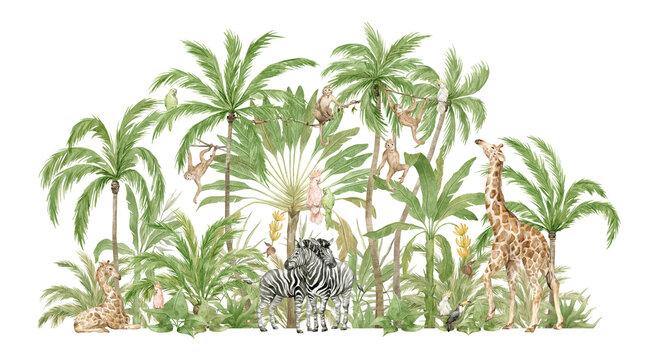Watercolor safari animals and tropical palms. Jungle compositions. Giraffe, zebra, monkey, parrot. Brigth summer exotic jungle.