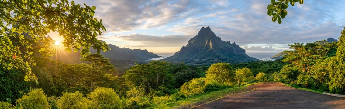 Mont Rotui seen from the Belvedere Lookout at sunset, Moorea island, French Polynesia
