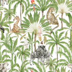 Watercolor seamless pattern with African animals and palm trees. Giraffe, elephant, zebra, leopard, parrot, banana and coconut palms. Wild jungle flora and fauna. Deep tropical green rainforest.