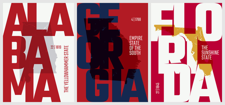 Vector posters states of the United States with a name, nickname, date admitted to the Union, Division South Atlantic and East South Central - Alabama, Georgia, Florida - set 10 of 17