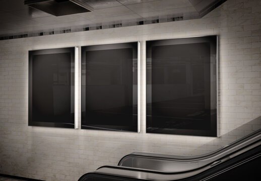 Three vertical billboards glowing on underground wall Mockup. Hoardings advertising triptych on subway wall 3D rendering